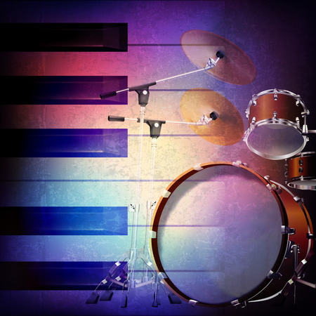 abstract grunge music background with piano and drum kit on blue vector illustration Illustration