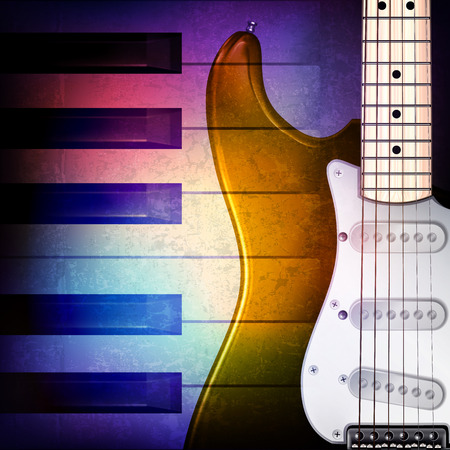 loudly: abstract grunge music background with piano and electric guitar on blue vector illustration