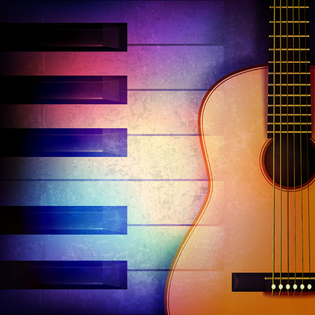 troubadour: abstract grunge music background with piano and guitar on blue vector illustration