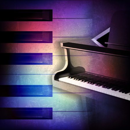 grand piano: abstract grunge music background with grand piano on blue vector illustration Illustration