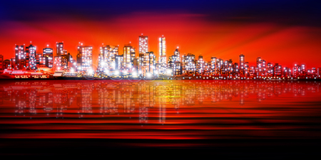 vancouver: abstract red blue sunset background with silhouette of city vector illustration Illustration