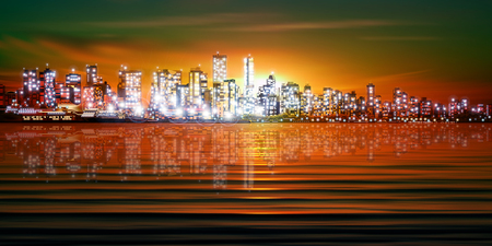 vancouver city: abstract green sunset background with silhouette of city vector illustration