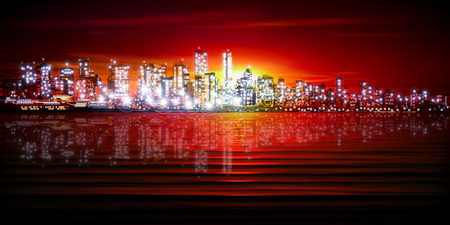 horizon reflection: abstract red sunset background with silhouette of city vector illustration Illustration