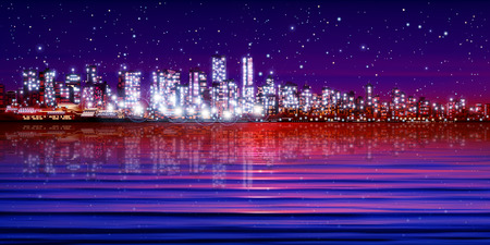 vancouver city: abstract purple sunset background with silhouette of city vector illustration Illustration