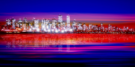 vancouver city: abstract pink red sunset background with silhouette of city vector illustration Illustration