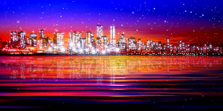 horizon reflection: abstract pink sunset background with silhouette of city vector illustration