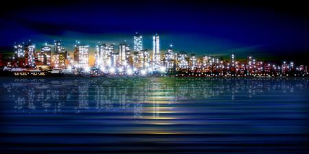 nacht: abstrakte Sonnenuntergang Hintergrund mit Silhouette der Stadt Vektor-Illustration