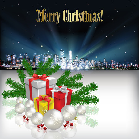 vancouver city: Abstract Christmas vector illustration with silhouette of city and gifts