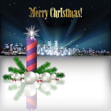xmas tree: Abstract Christmas vector illustration with silhouette of city and candle Illustration