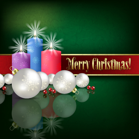christmas decorations: Abstract green grunge background with Christmas decorations and candles