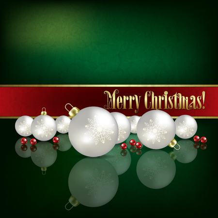 peaceful background: Abstract green grunge background with white Christmas decorations