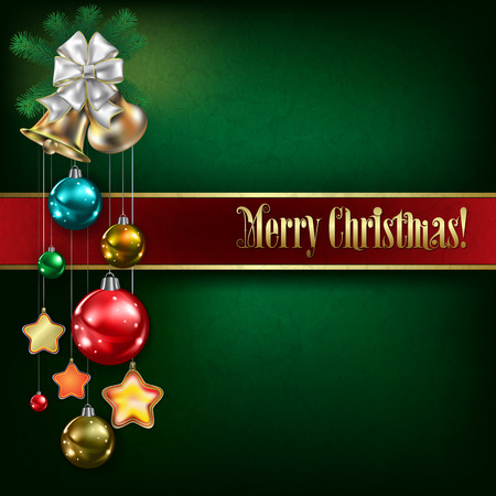 peaceful background: Abstract green grunge background with Christmas bells and decorations