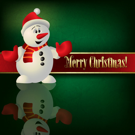 green grunge background: Abstract Christmas green grunge background with snowman