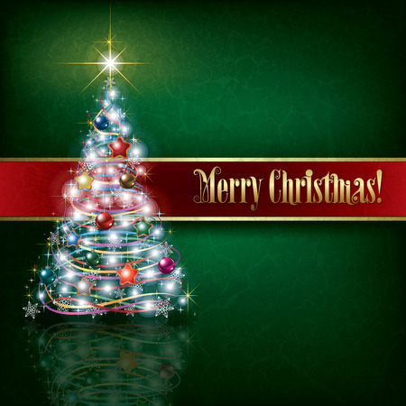 grunge tree: celebration greeting with Christmas tree on green grunge background