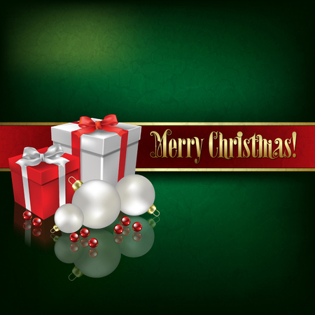 green grunge background: Abstract green grunge background with Christmas decorations and gifts
