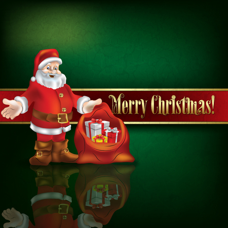 green grunge background: Abstract green grunge background with Santa Claus and Christmas gifts Illustration