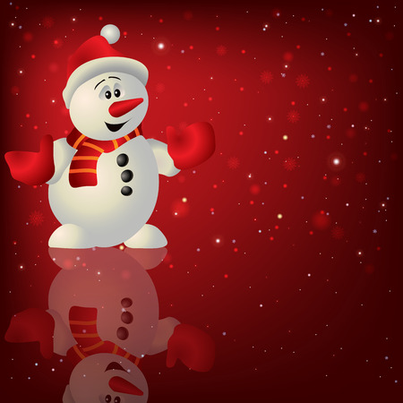 christmas night: Abstract Christmas red background with snowman and snowflakes