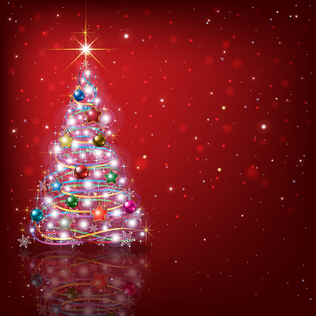 red christmas background: Abstract red background with Christmas tree and decorations