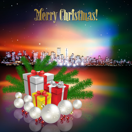vancouver city: Abstract Christmas pink vector illustration with silhouette of city and gifts