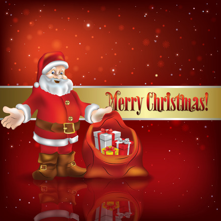 peaceful background: Abstract red vector illustration with Christmas decorations and Santa Claus