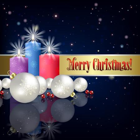 velas de navidad: Resumen ilustración del vector azul con velas y decoraciones de Navidad