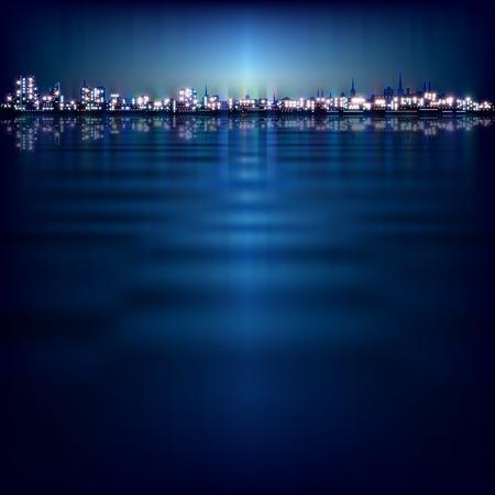 night art: abstract night background with blue sunset and illumination in Tallinn Illustration