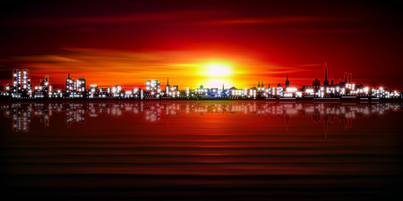 europa: abstract red sunset background with silhouette of city illustration Illustration