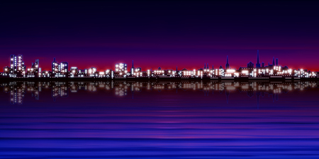 horizon reflection: abstract purple sunset background with silhouette of city illustration