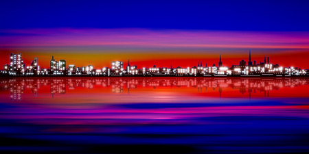 red sunset: abstract pink red sunset background with silhouette of city illustration Illustration