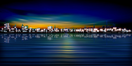 city background: abstract sunset background with silhouette of city illustration