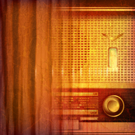 retro radio: abstract grunge music background with retro radio vector illustration