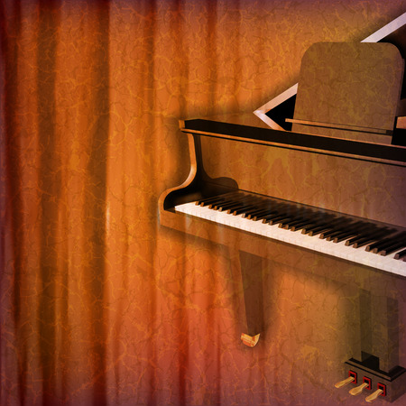 grunge music background: abstract grunge music background with grand piano vector illustration