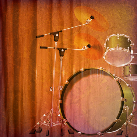drum kit: abstract grunge music background with drum kit vector illustration