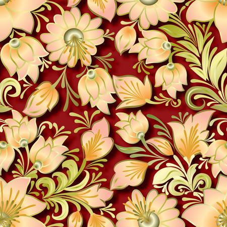 lighten: seamless lighten floral ornament on red background Illustration