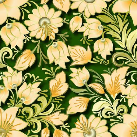 lighten: seamless lighten floral ornament on green background