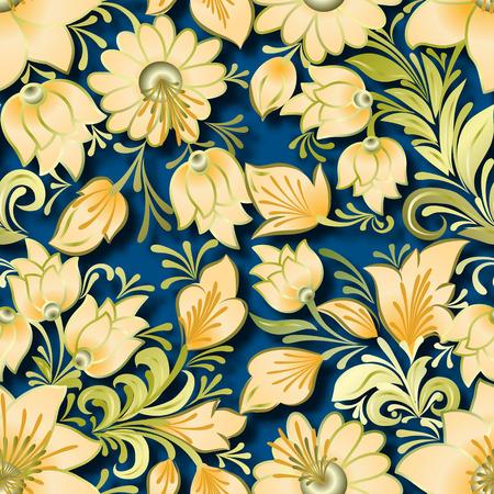 lighten: seamless lighten floral ornament on blue background