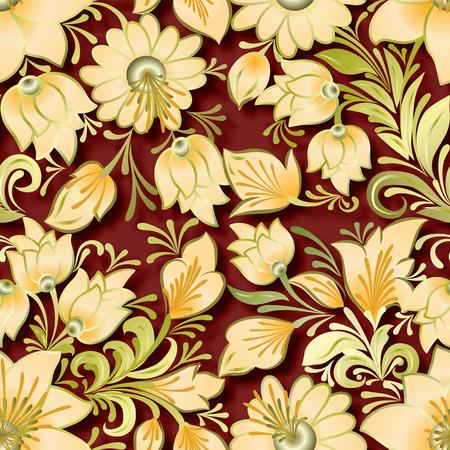 lighten: seamless lighten floral ornament on brown background