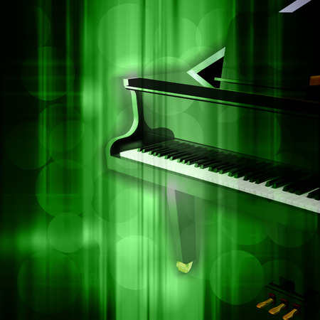 music background: abstract green music background with grand piano