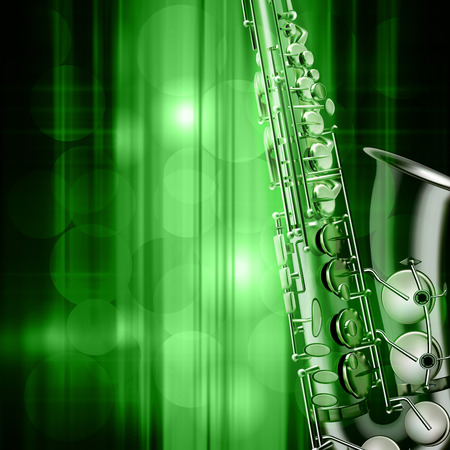 classic classical: abstract green music background with saxophone Illustration