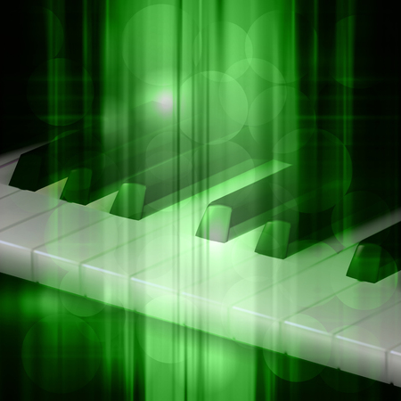 sheet: abstract green music background with piano keys