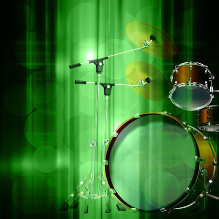 drum kit: abstract green music background with drum kit