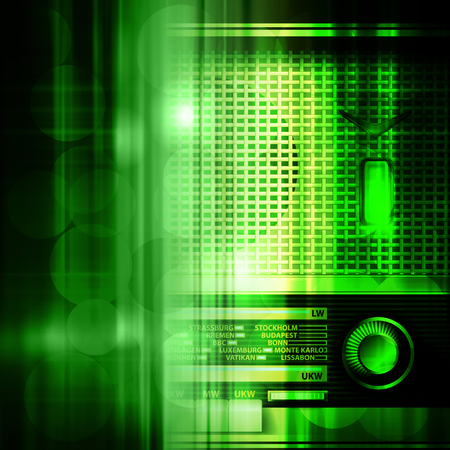 retro radio: abstract green music background with retro radio