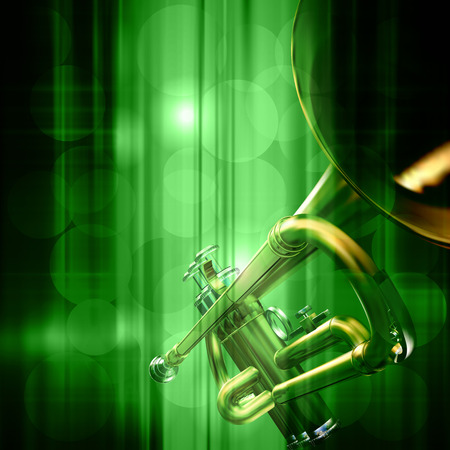 troubadour: abstract green music background with trumpet