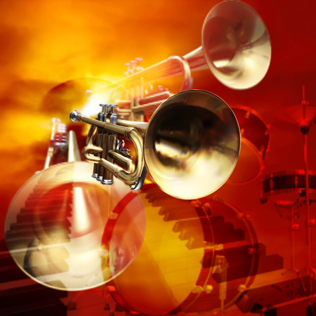 blare: abstract red musical background with drums and trumpets Illustration