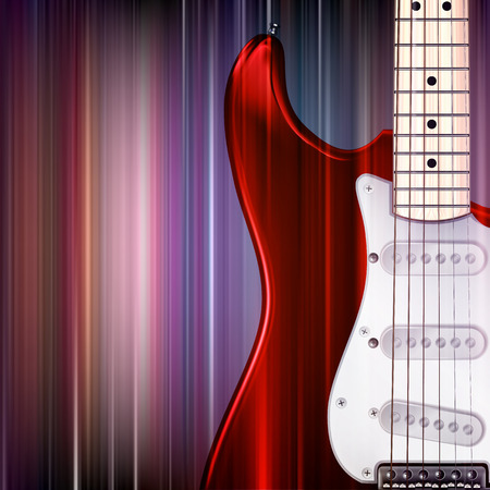 abstract music: abstract blue music background with electric guitar Illustration