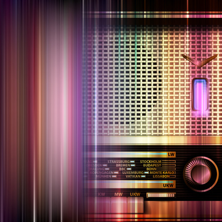 retro radio: abstract blue music background with retro radio