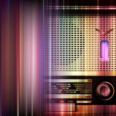 astratto musica blu con retro radio