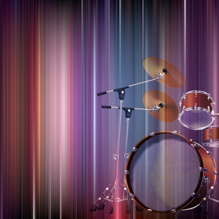 drum kit: abstract blue music background with drum kit