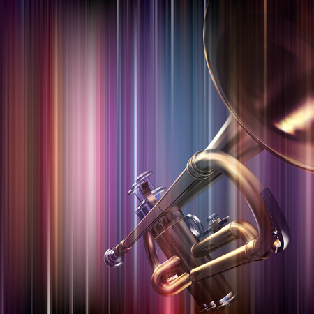 abstract blue music background with trumpet