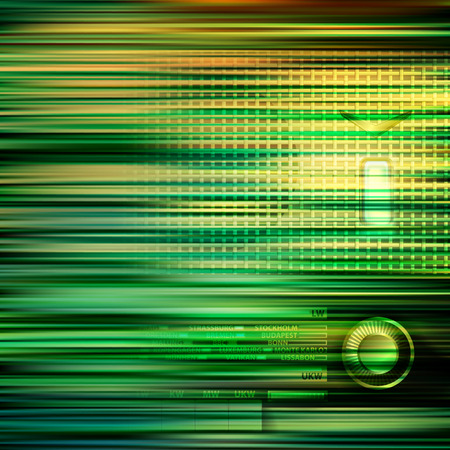 abstract green blur background with retro radio